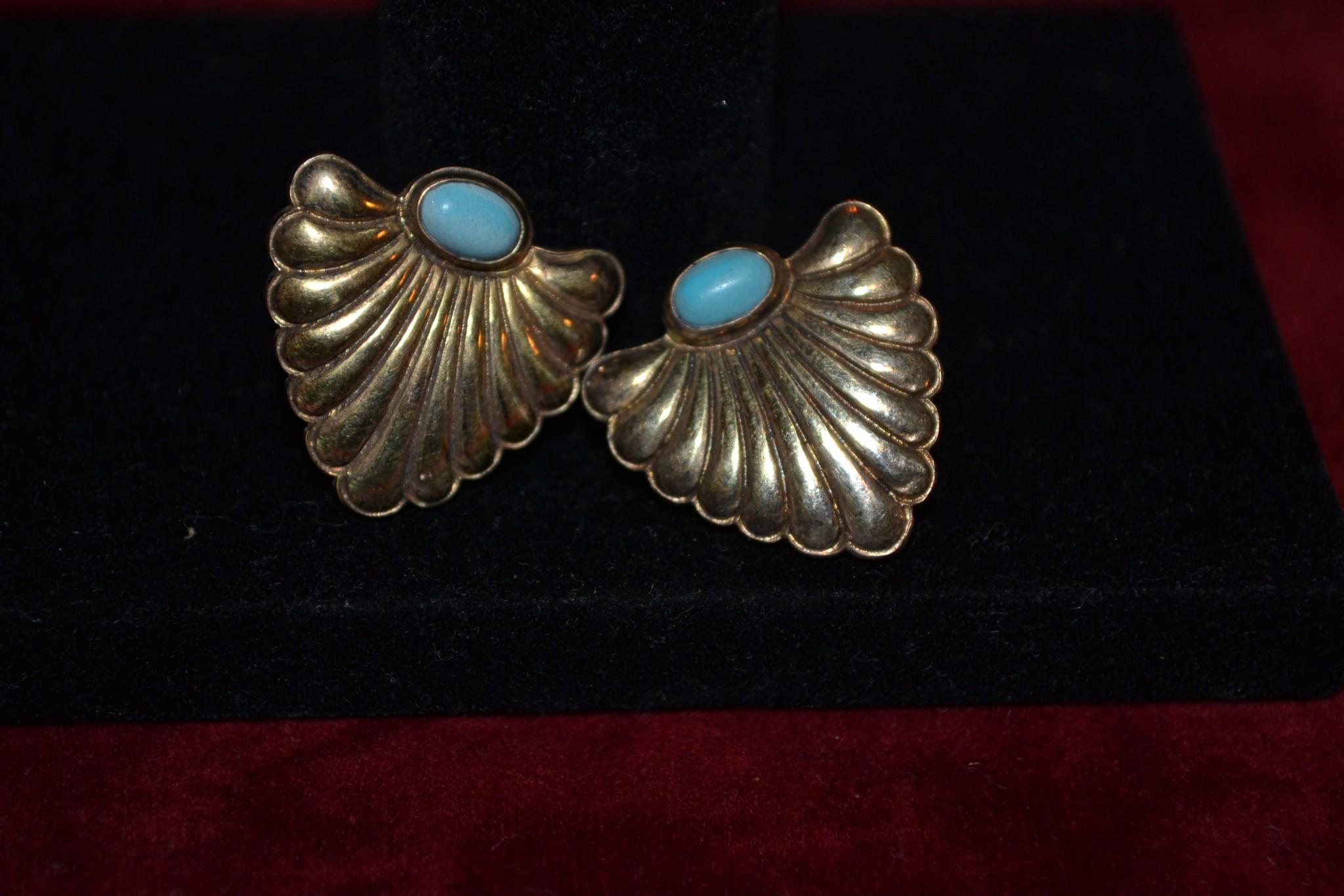 Σκουλαρίκια ασημένια-επιχρυσωμένα μέ τυρκουάζ vintage - Το μπαούλο ... 7c4cd26534d