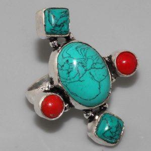 Δαχτυλίδι εθνικ -boho-gypsy- από Νεπάλ μέ τυρκουάζ καί κοράλι
