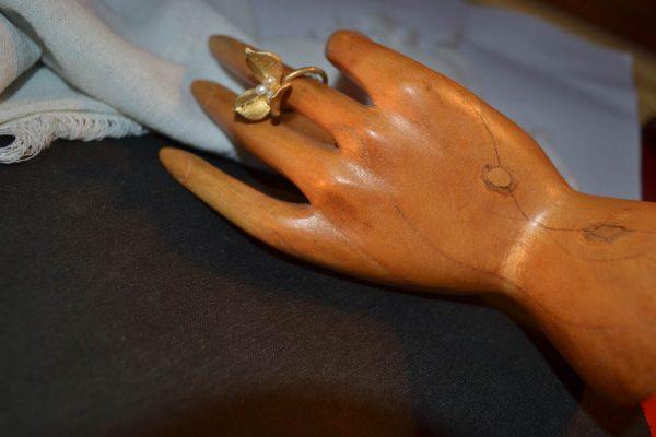 Δαχτυλίδι ασημένιο-επιχρυσωμένο χειροποίητο μέ μαργαριταράκια