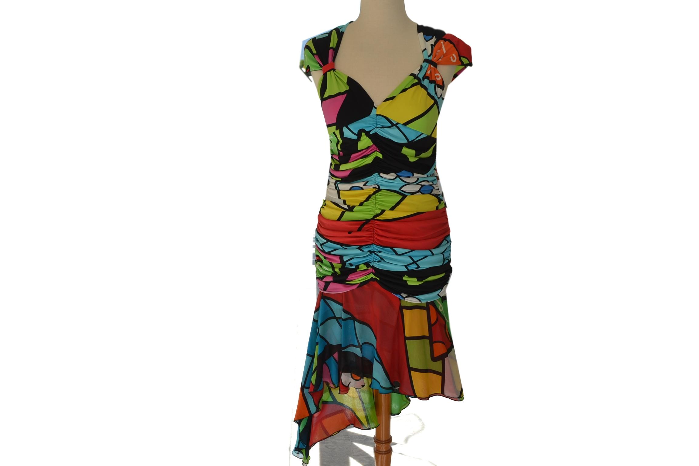 9f2a2856479b Φόρεμα εμπριμέ άνισο ENRICO COVERI Ιταλίας - Vintage Kosmima ...
